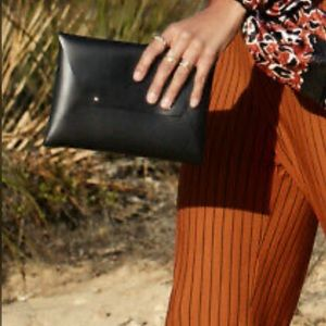 TRIBE ALIVE Black Leather Envelope Clutch